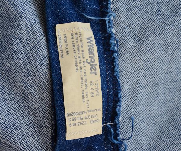 ヴィンテージWranglerラングラー80年代13MWZデニムパンツジーンズ濃紺ブロークンFUNS福島古着