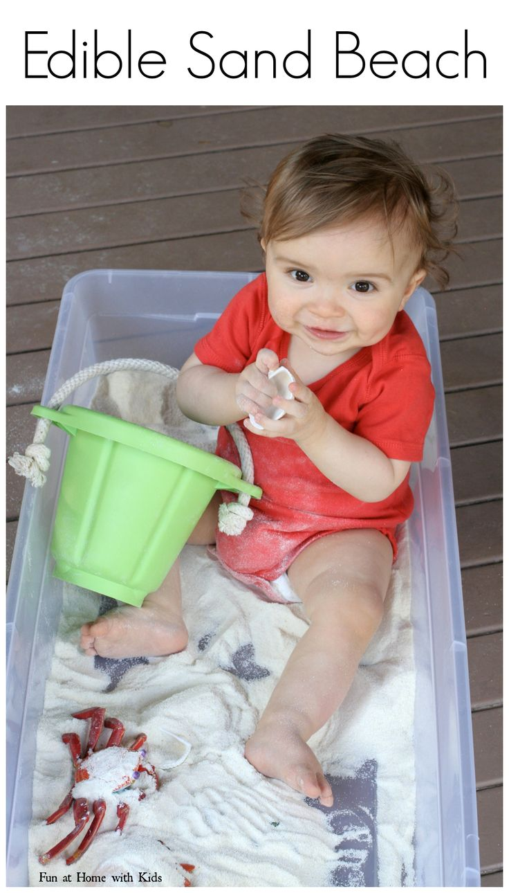 Baby Toddler Beach Sensory Bin With Edible Sand