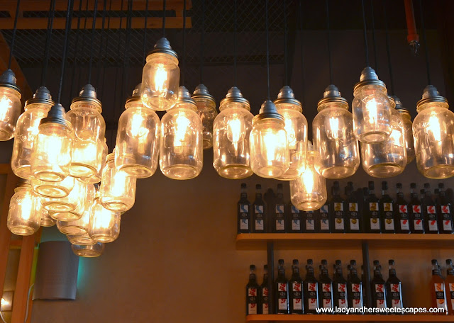 pendant lights at Mr. Crab