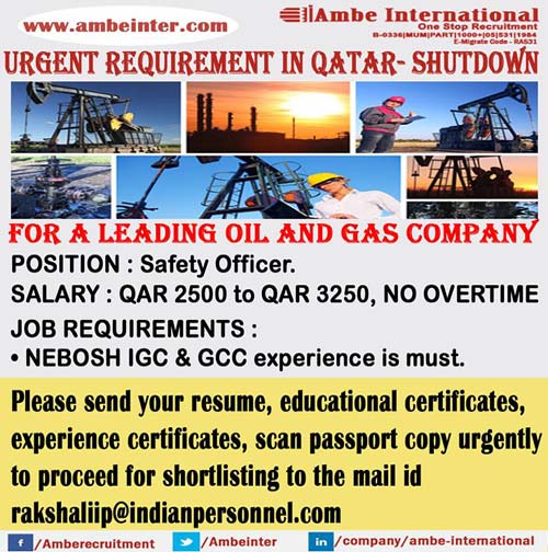 Safety-HSE Officer with Nebosh | Urgent Requirement for Shutdown Jobs in Qatar, Ambe International Mumbai Interviews Gulf Walkin