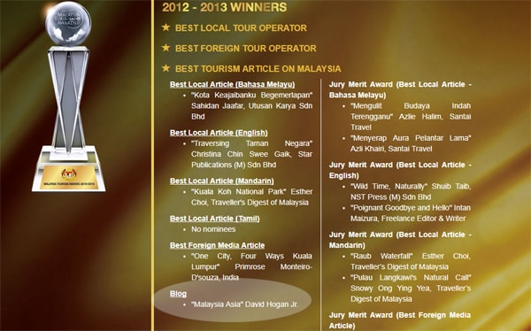 Winner for Online Media Tourism Malaysia Awards