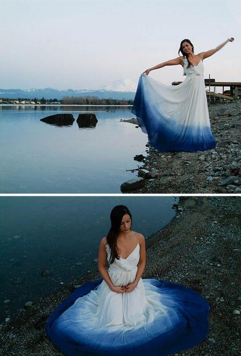 vestido de novia con colores a la moda