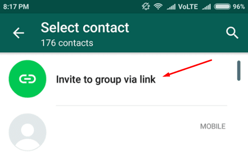 ketuk Invite to group via link