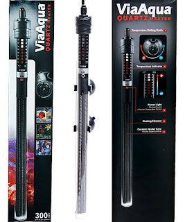 Aquarium heaters, pre-set, automatic, glass submersible, titanium