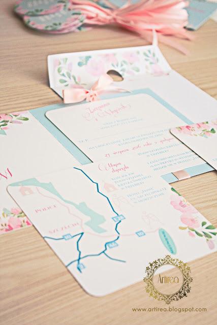 zaproszenie ślubne oryginalne pastelowe miętowe różowe artirea