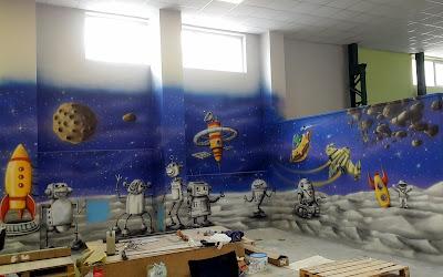 Malowanie sali zabaw, mural w sali zabaw, artystyczne malowanie scian 3D, malowanie obrazów na ścianie w bawialni, salkach irodzinowych