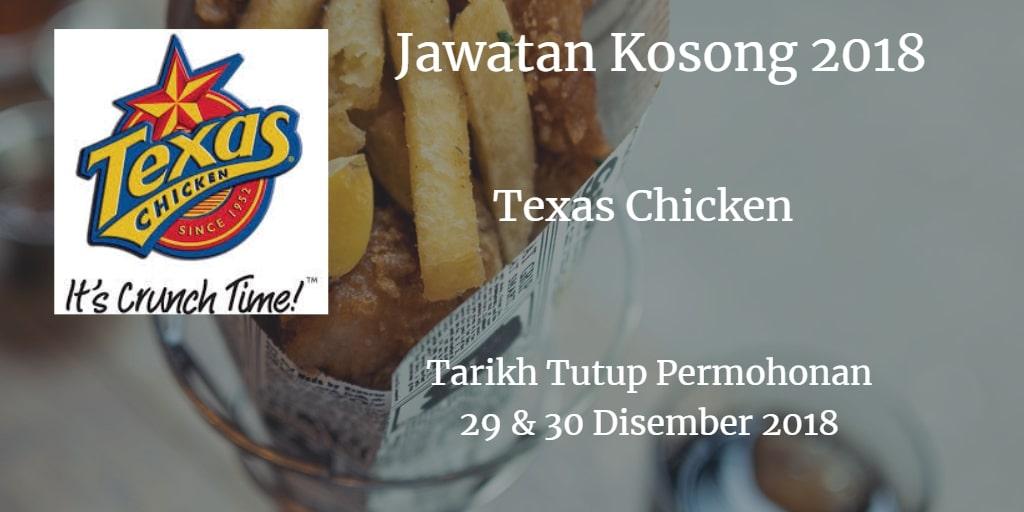 Jawatan Kosong Texas Chicken 29 & 30 Disember 2018