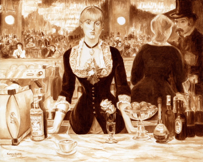 10-Manet-A-Bar-at-the-Folies-Bergere-Karen-Eland-Coffee-and-Water-Recreate-Famous-Paintings-with-a-Difference-www-designstack-co