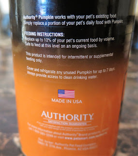 Authority's canned pumpkin is pure pumpkin and made in the USA