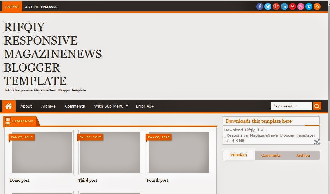 Rifqiy Blogger Template Downloads free
