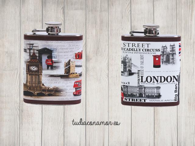 Petaca de metal decorada con imágenes de Londres como detalle para hombre