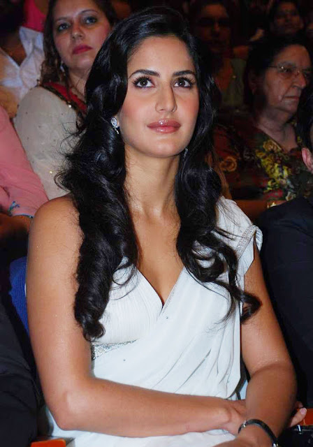 Bollywood Actress Katrina Kaif Hot Hip Navel Show Stills In White Saree