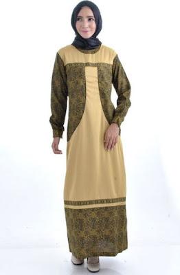 Model Gamis Batik Kombinasi Polos berhijab