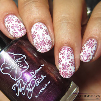 Moonflower Polish Selene nail polish stamped over white