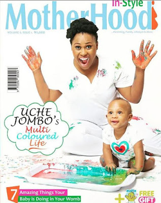 Uche Jombo and son adroble on the cover of Motherhood In-style