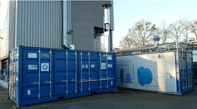 Coupled Power-to-Gas plant (left container: methanation; right container: electrolyser)
