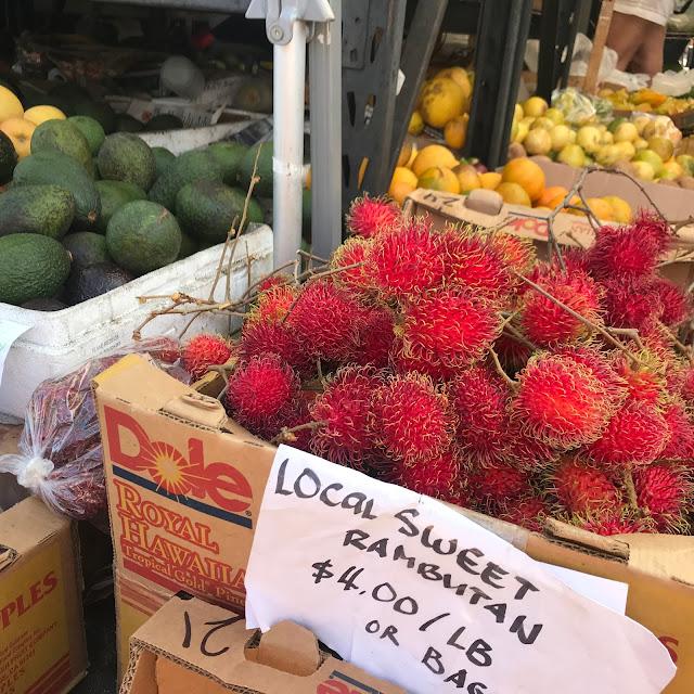 Rambutan fruit stand avocado Hawaii