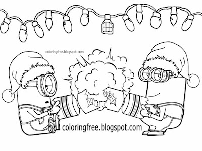 Bon bons traditional Xmas party cracker big explosion Minions drawing ideas Christmas coloring pages