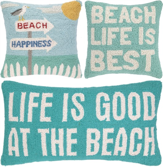 Hooked Beach Pillows with Quotes