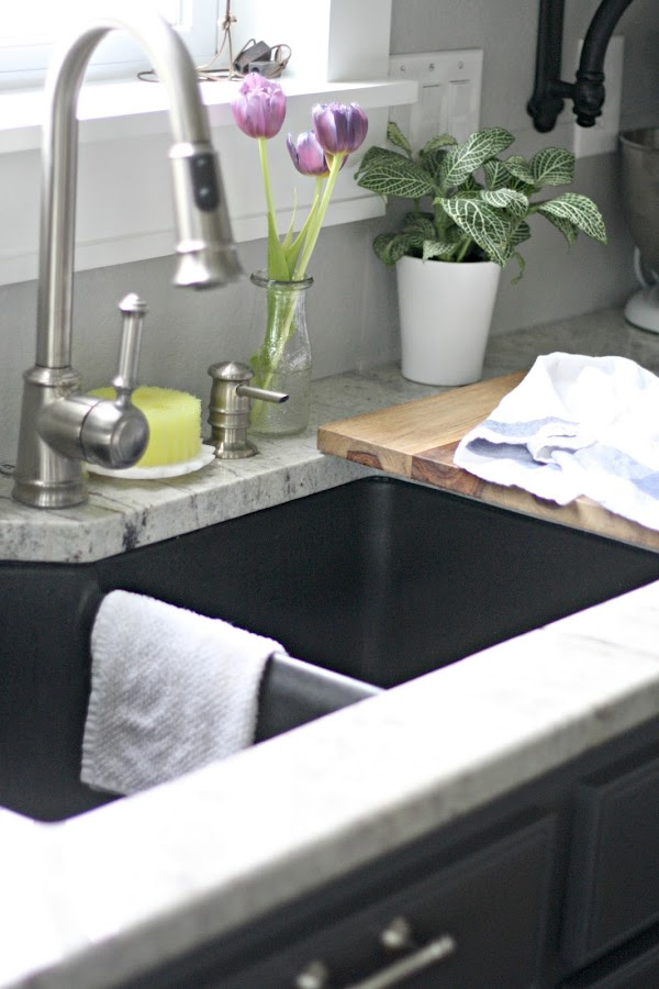 Dark gray granite sink