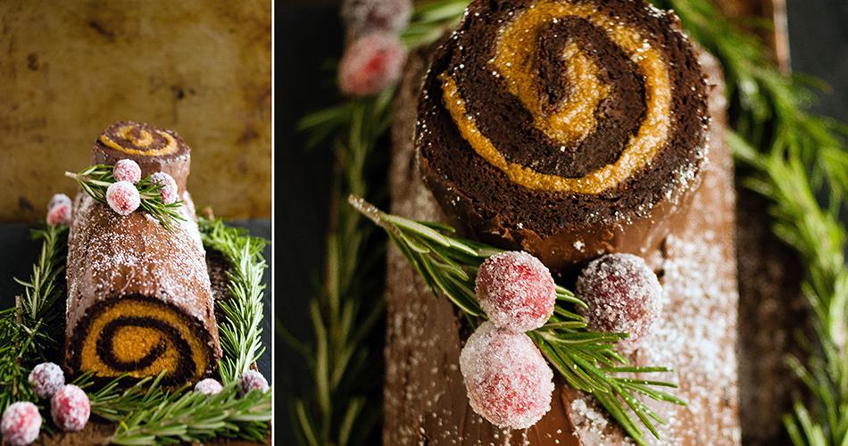 Chocolate And Pumpkin Buche de Noel | Decadently Delicious Yule Log Recipe and Cake Ideas