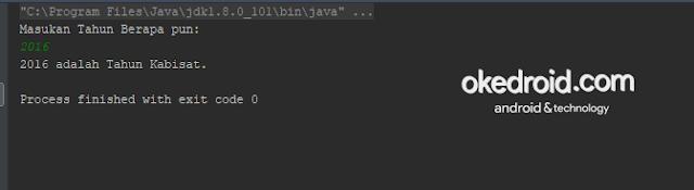 Output Hasil Contoh Code Menghitung Menentukan Tahun Kabisat di Program Java