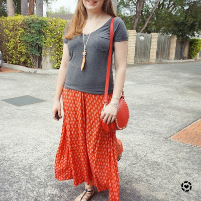 awayfromblue instagram grey v neck tee with boho red print maxi skirt Spring SAHM outfit