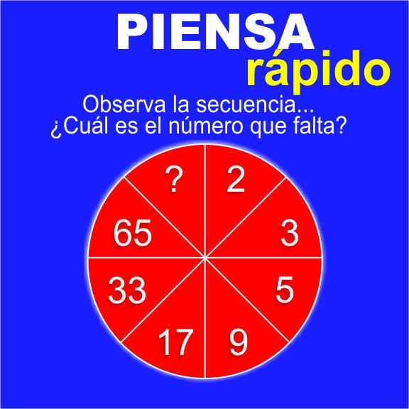 Juegos para aprender matemáticas: PIENSA rápido: Observa la secuencia ¿Cuál es el número que falta?