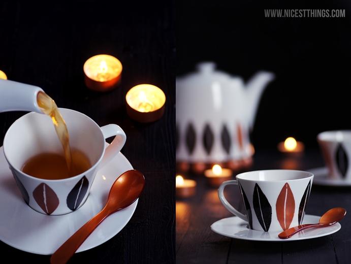 DIY Porzellan bemalen Kupfer Geschirr Tassen Schwarz Weiss
