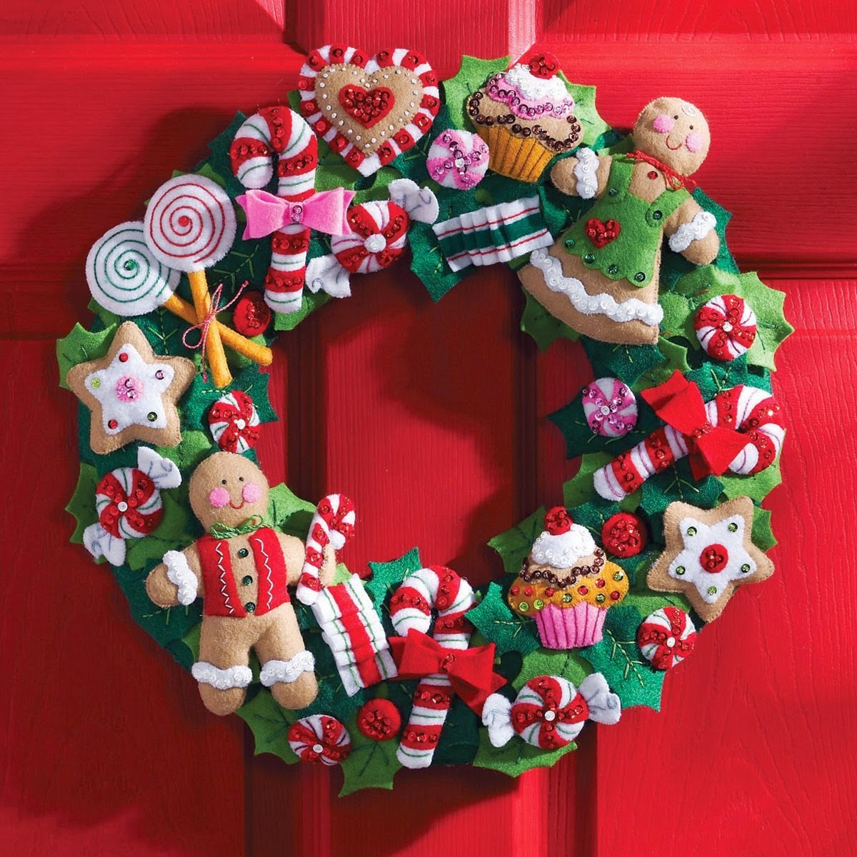 Christmas cookies and candy felt wreath craft kit