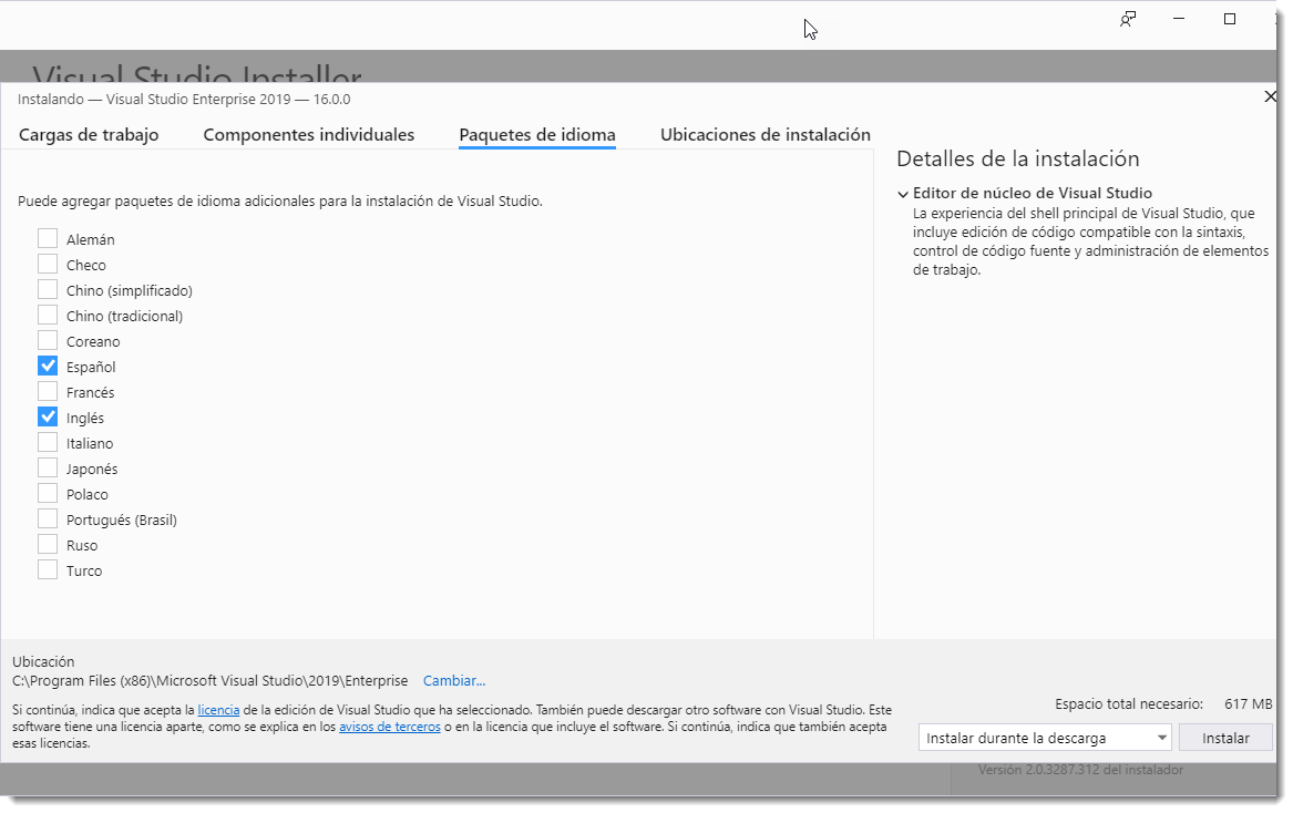Microsoft Visual Studio 2019 RTM Multilenguaje Español