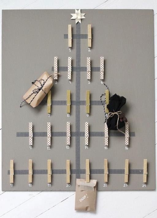 kalendarz adwentowy klamerki, choinka