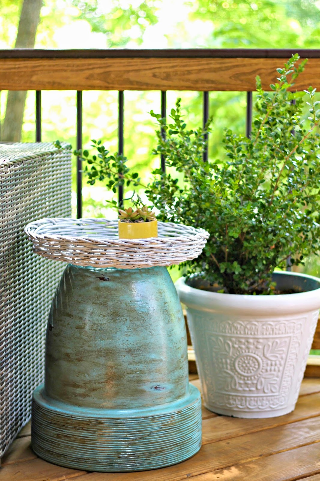 outdoor side table from planter