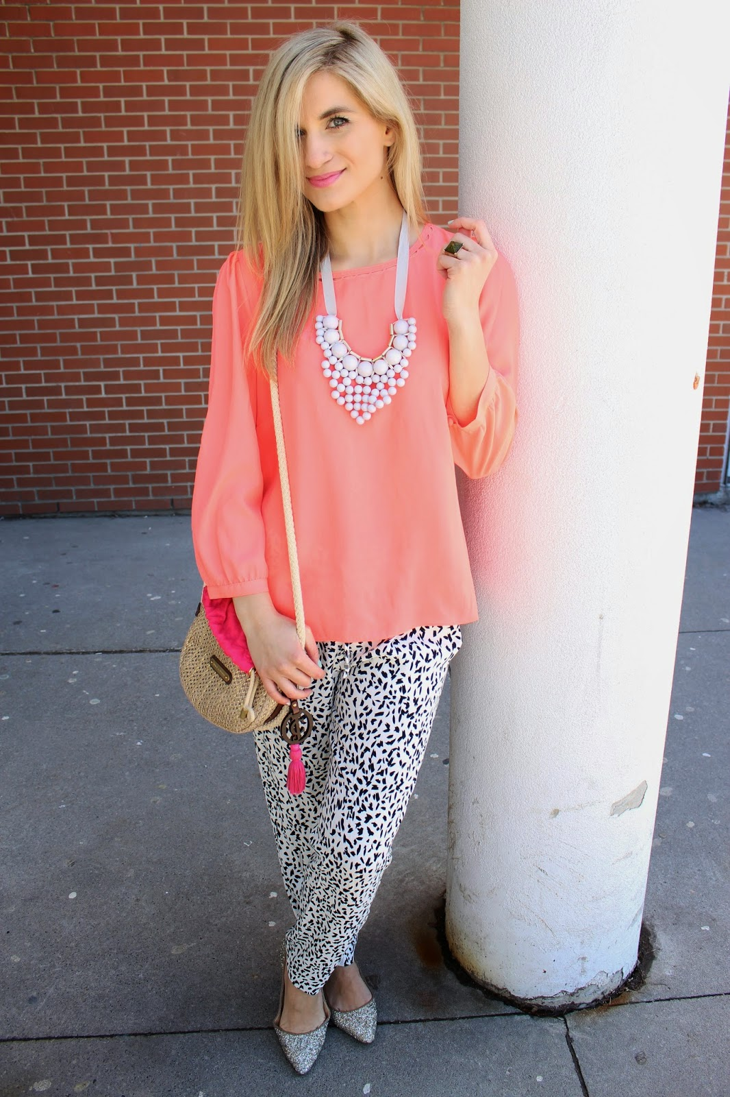 bijuleni - JCrew Coral Top and Zara pants