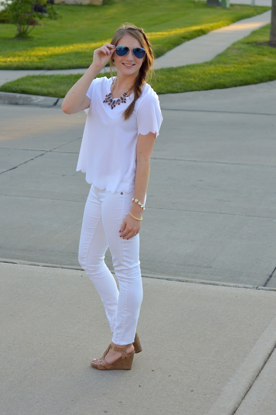 white on white outfit idea