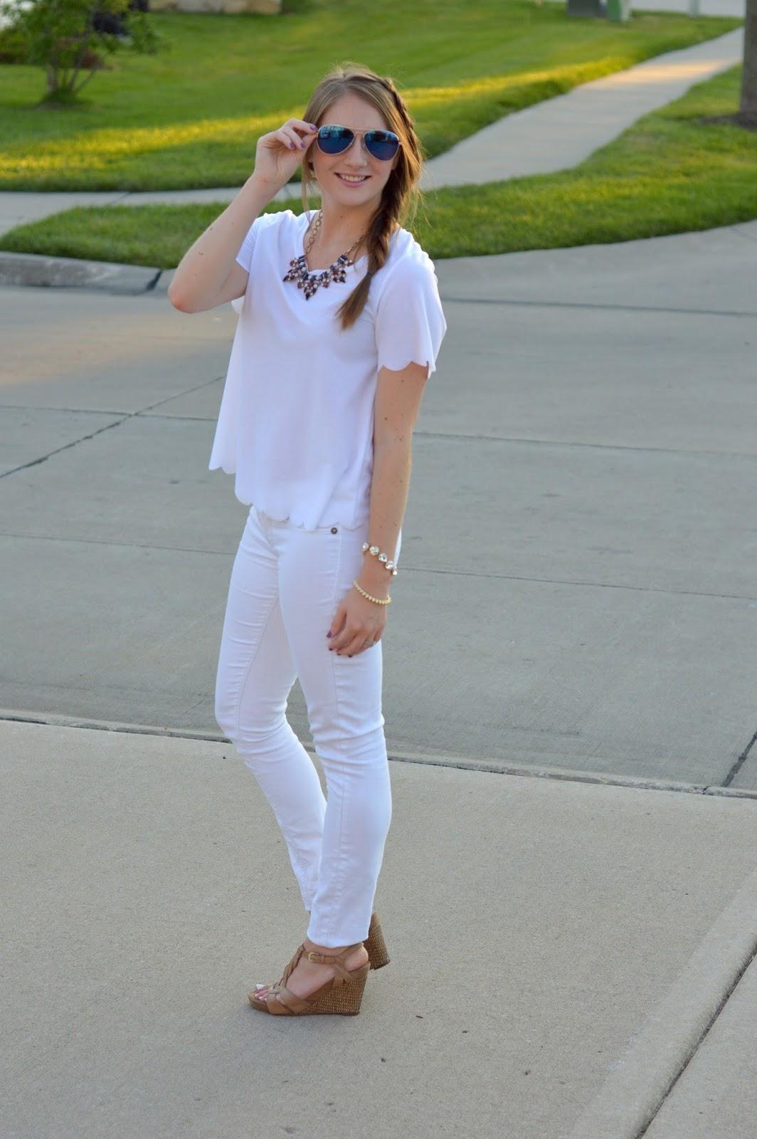 white on white outfit idea