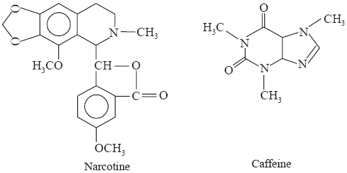 narceine, narcotine, and caffeine