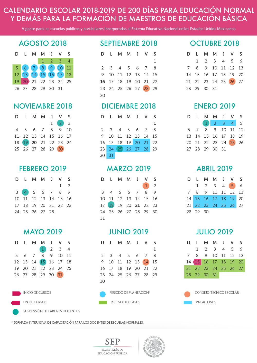 sep 2018-2019 descansos escolares, educación básica