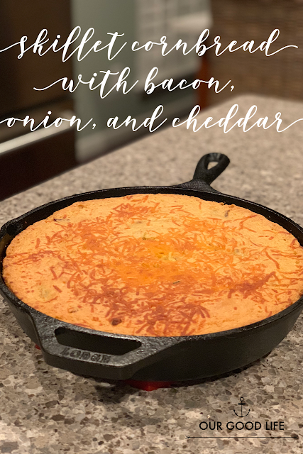 Skillet Cornbread with Bacon, Onion, and Cheddar