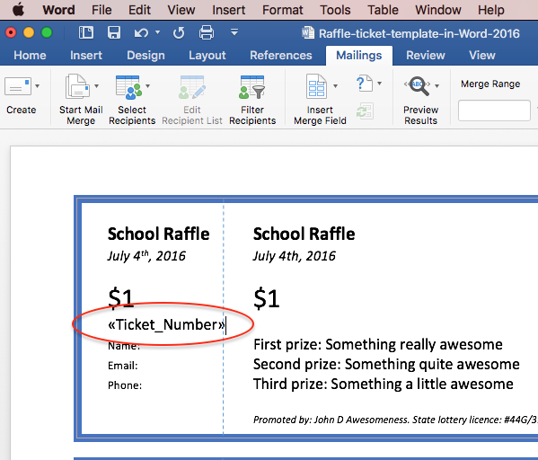 Print raffle tickets using a template in Office Word 2016 – Numbered Raffle Ticket Template Free