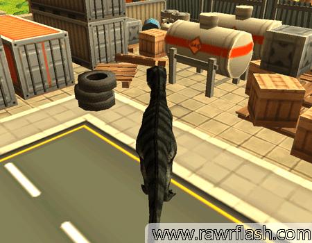 Imagem de um jogo de simulação de dinossauros nas ruas.