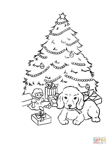 Nice Christmas Stockings Coloring Pages   Christmas Tree With  Presents