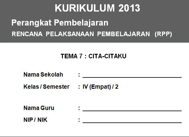 RPP K13 SD KELAS 4 SEMESTER 2 - Cita-Citaku