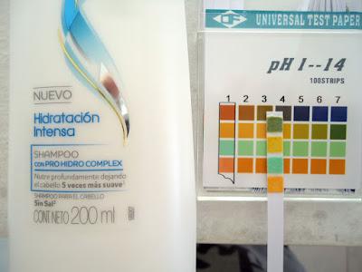 pH de shampoo hidratacion intensa de Dove