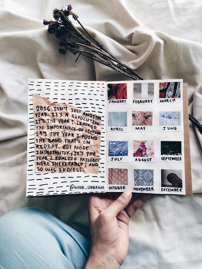 art journal noor unnahar tumblr aesthetics polaroids notebook flatlay