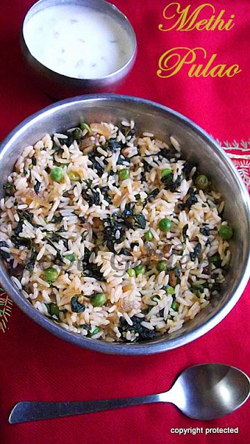 methi pulao, methi rice