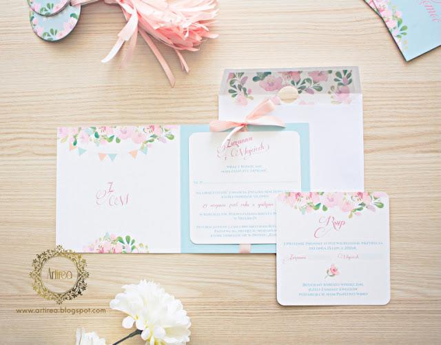zaproszenia ślubne miętowe