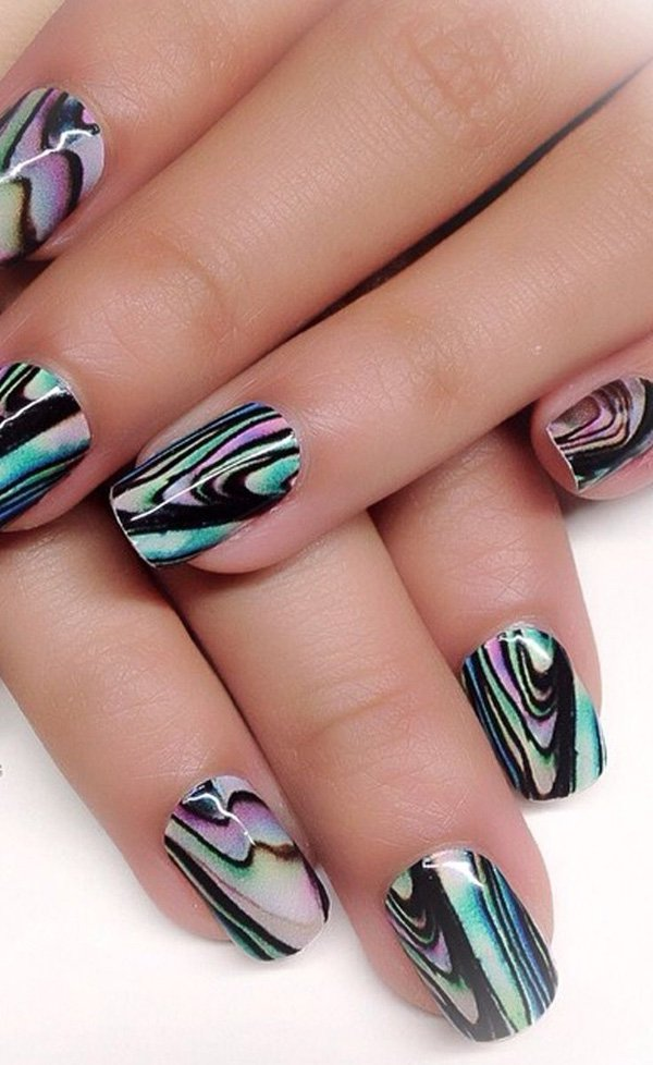 Unique Water Marble Nail Designs for 2016 - Non stop Fashions