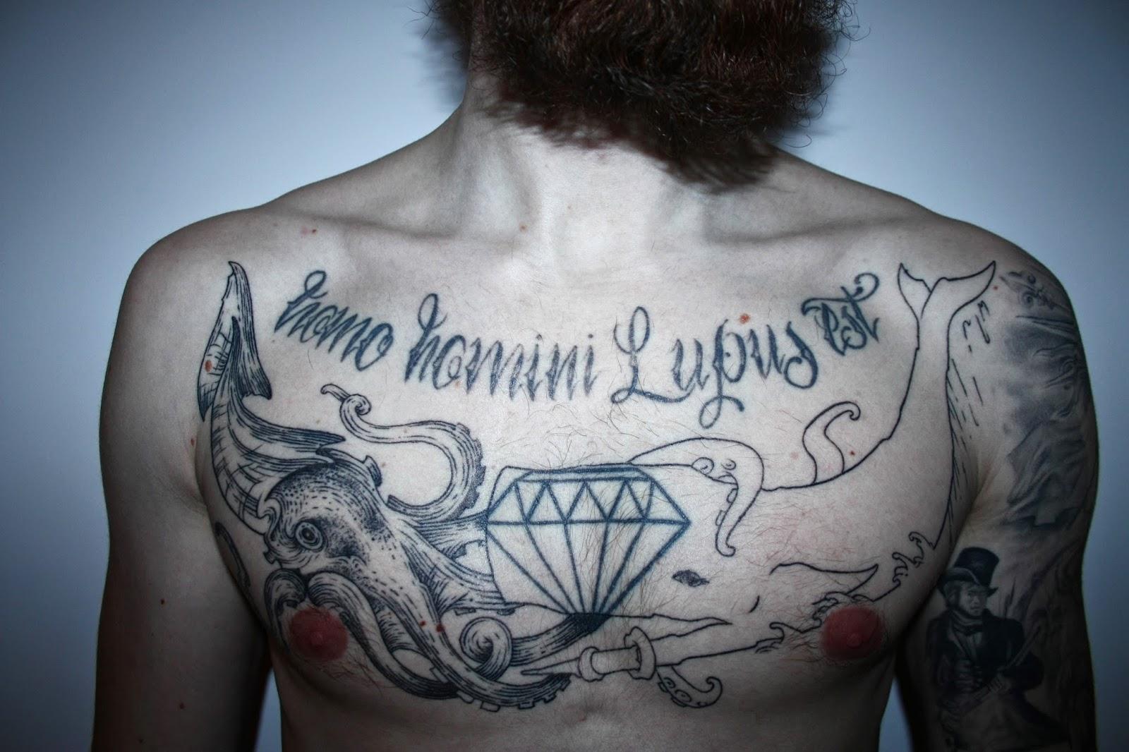 Diamant Tattoo Brust Tattoo Pottwal spermwhale Kraken Octopus tattoo Coverup breast