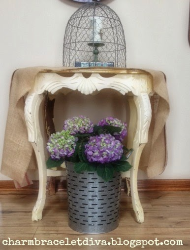 large leaf purple hydrangeas farmhouse olive buckets foyer